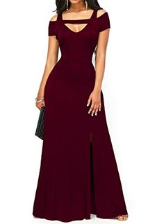 ONLYSHE Women's Formal Cold Shoulder Casual Party Swing T-shirt Dress Winered Small
