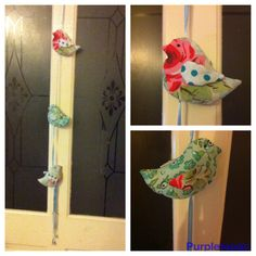 Little birds on ribbon with tiny bells from Helen Philippe pattern! Filled with lavender