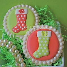 Preppy Monogrammed Christmas Stocking Decorated Sugar Cookies