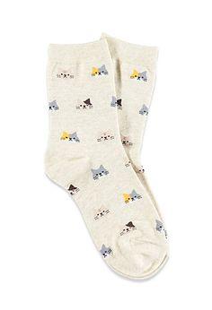 Cat-Patterned Crew Socks   Forever 21 - 2000140684