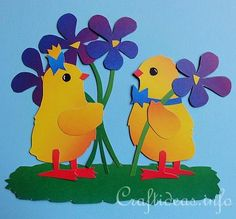 paper piecing easter | Spring Chicks Paper Piecing Window Decoration