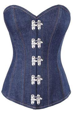New denim steel boned corset, will enhance your curves right away https://www.theburgandyboudoir.com/Long-Denim-Corset_p_451.html