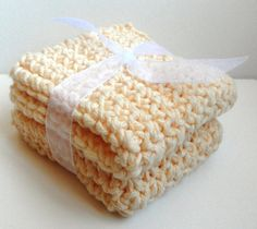 Crochet Dishcloths Washcloths  Set of 2.  Light yellow.