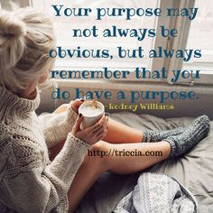 Your purpose may not always be obvious, but always remember that you do have a purpose.  -Rodeny Williams  triccia.com #injoy #injoynow