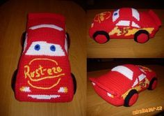 Háčkovaný Blesk McQueen Crochet Car, Crochet Toys, Lightning Mcqueen, Crochet Animals, Applique, Crochet Patterns, Pokemon, Dolls, Knitting