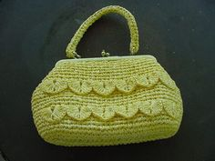 Vintage Butter Yellow Woven Straw Purse