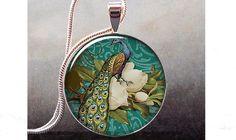 Peacock & Magnolia art pendant charm peacock by thependantemporium, $8.95
