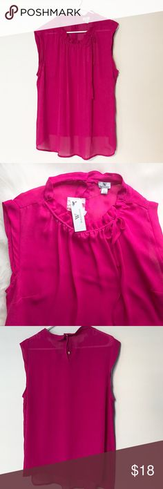 Worthington Pink Blouse Adorable shade of pink (magenta?) Sheer Blouse by Worthington. New with tags! 💕 Worthington Tops Blouses