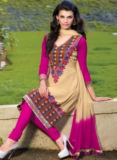 Georgette Churidar Suit with hand work