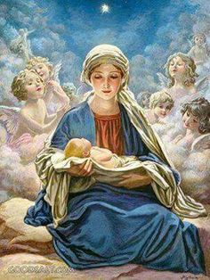 "Mary holding baby Jesus with angels surrounding and the star of Bethlehem above. ""And Mary said, My soul doth magnify the Lord, And my spirit hath rejoiced in God my Saviour."" KJV Luke Star of Bethlehem The Standard Publishing Collectionj Blessed Mother Mary, Blessed Virgin Mary, Catholic Art, Religious Art, Vintage Illustration, Queen Of Heaven, Religious Pictures, Star Of Bethlehem, Sainte Marie"