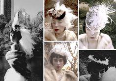 Warm feather and far hats and headpiece great for Autumn/Winter bridal scene. ふわふわのフェザーやファーを使用した、秋冬のブライダルシーンにぴったりなヘッドドレスです。