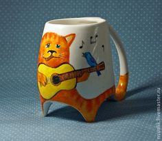 """Кружки и чашки ручной работы. Ярмарка Мастеров - ручная работа Кружка """"Кот с гитарой"""". Handmade."""
