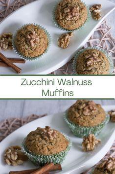 Muffins mit Zucchini, Walnuss und Zimt. Schnell und einfach mit wenigen Zutaten. #rezept #muffin #zucchini #walnuss