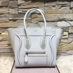 Celine Micro Luggage With Multicolour Double Stitching In White Calfskin  2016     Real Purse bce03c9799165