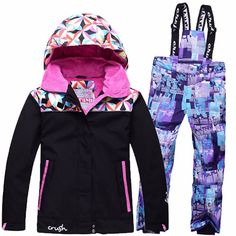 Childrens Ski Suit Ski Jacket With Overalls 2pcs Waterproof Thick Outdoor Clothes Set Warm Suits For Winter Free Glasses Cheap Sales Skiing Jackets Skiing & Snowboarding