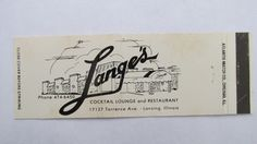 Lange's Restaurant / Cocktail Lounge Lansing, Illinois 20 Strike Matchbook Cover