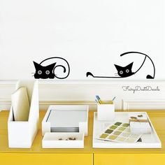 sc 1 st  Pinterest & Cat Wall Decals - Design With Vinyl | Wall decals Walls and Mid century