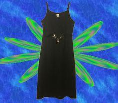 Black Bodycon 90's Mini Dress / A Line Mood Ring Chain Belt / Club Kid Babydoll Baby Spice Dress / Skater Spaghetti Strap LBD