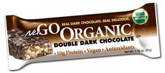 NuGO Organic Double Dark Chocolate Protein Bar is packed with soy protein and coated in delicious, antioxidant-rich REAL Dark Chocolate. $22 for 1 box of 12 bars #organic #vegan #dairyfree #Kosher