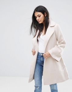 Lipsy Wrap Coat with Bell Sleeve - Tan