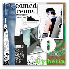 """Hogwarts Students: Zabuza Momochi"" by bambolinadicarta ❤ liked on Polyvore featuring Denham, Common Projects, men's fashion, menswear, slytherin, hogwarts, narutoshippuden, hogwartshouse and ZabuzaMomochi"