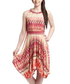 Love this Red & White Geometric Handkerchief Dress - Plus by Shoreline on #zulily! #zulilyfinds