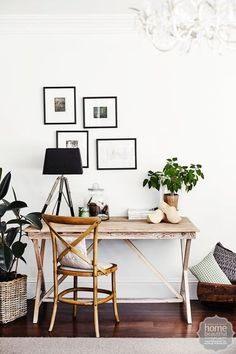 Continuing the French industrial aesthetic found throughout this home - filled with an eclectic mix of pre-loved finds - a desk from The General Trading Company offers a quiet place to work.