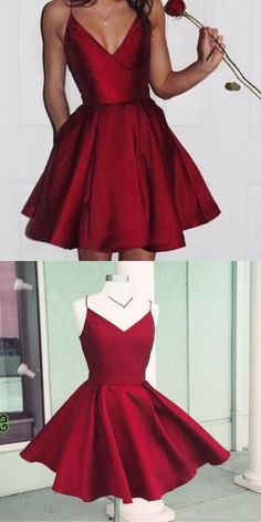 Simple Spaghetti Strap Red Satin Homecoming Dresses, V-neck Homecoming Dresses, Cheap . - Simple Spaghetti Strap Red Satin Homecoming Dresses, V-neck Homecoming Dresses, Cheap Short - Cheap Hoco Dresses, Burgundy Homecoming Dresses, Dresses For Teens, Simple Dresses, Sexy Dresses, Cute Dresses, Red Hoco Dress, Prom Dress, Short Red Homecoming Dresses