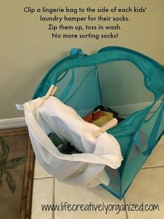 ways to make doing kids' laundry easier 10 ways to make doing kids' laundry easier! Use a lingerie bag for each kid to keep socks sorted in ways to make doing kids' laundry easier! Use a lingerie bag for each kid to keep socks sorted in laundry. Maila, Future Mom, D House, Laundry Hamper, Laundry Rooms, Laundry Hacks, Home Hacks, Getting Organized, Kids And Parenting