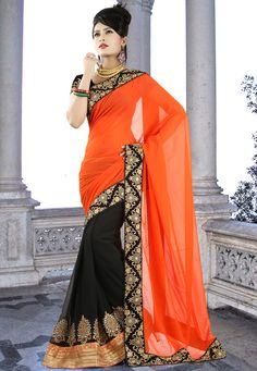 Orange and Black Faux Georgette Saree with Blouse @ $78.00