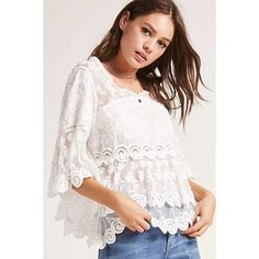Forever21 Layered Crochet Top ($35) ❤ liked on Polyvore featuring tops, white, rouched top, three quarter length sleeve tops, scallop top, white mesh top and ruched top