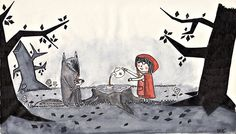 Psychedelic Drawings, Big Bad Wolf, Illustration, Red Riding Hood, Big Eyes, Little Red, Tumblr, Art History, Art Quotes