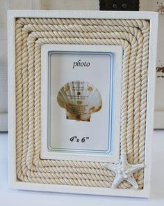 White Wood & Nautical Rope 4x6 Starfish Picture Frame - Beach Cottage Home Decor - California Seashell Company