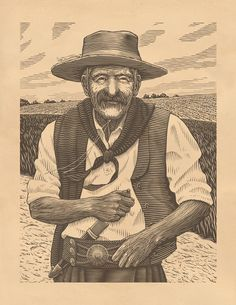 Illustration of a Gaucho for an upcoming beverage label. Thanks to Cody Small for his excellent art direction!
