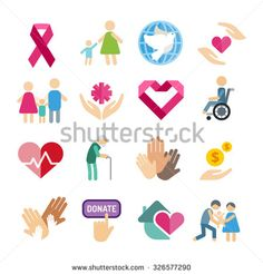Charity flat icons set. Charity vector logo icons. Charity silhouette isolated. Charity, abstract hands logo, heart logo, old people care logo, child logo, care logo, togetherness concept, family logo