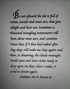 Quote from the Tempest by Shakespeare