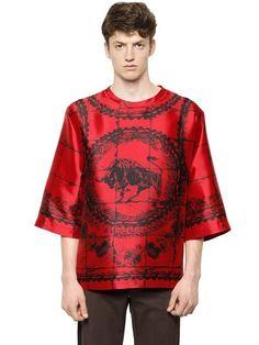 Oversize Printed Silk Shantung T-Shirt