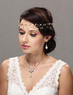 bridal hair comb wedding hair piece rhinestone crsystal pearl gold silver rose gold tiara hair accessory wreath halo headband hair vine hair style