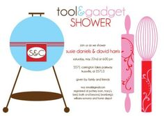 Tool and gadget shower invite