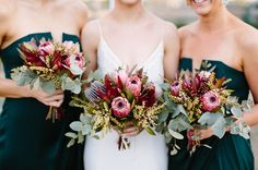 Fresh Wedding Flowers - Have You Ordered These Nine Arrangements For Your Wedding Day? Protea Wedding, Bush Wedding, Flower Bouquet Wedding, Floral Wedding, Wedding Colors, Wedding Styles, Dream Wedding, Wedding Day, Rustic Wedding Flowers