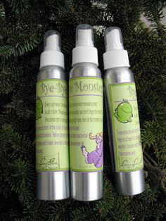 """""""Bye Bye Monsters Room and Linen Spray, help your child say bye bye to the monsters in their room."""" What a fabulous idea!"""