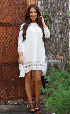 b43e5bfa90e Gorgeous Ava ivory plus size tunic dress with sleeves