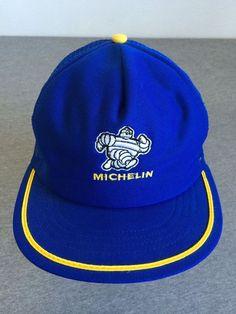 MICHELIN MAN 80 s Snap Back Trucker Hat Tires USA Made Mesh MINT! Flat Brim   Horizon  BaseballCap 2fb0d16630f3