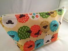 Colorful Sheep Makeup Bag, Toiletry Bag, Project Bag, Knitting Bag, Crochet Bag