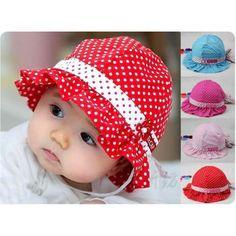 Sweet Baby Trottie Infant Polka Dot Cotton Hat Summer Sun Hat Princess Cap New Baby Pom Pom Hat, Baby Sun Hat, Baby Hats, Hat Patterns To Sew, Sewing Patterns, Baby Frocks Designs, Baby Dress Design, Baby Bonnets, Cotton Hat