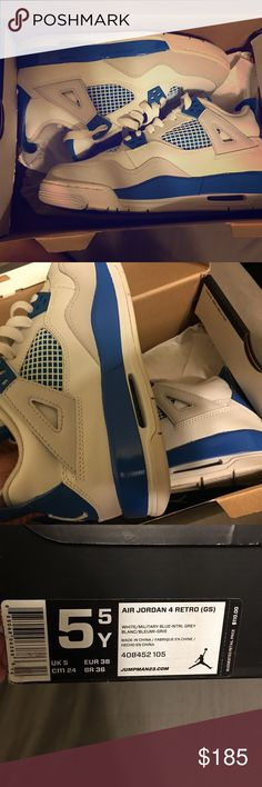 Jordan retro 4 Air Jordan retro 4 size 5.5 youth (women's 6) white/military blue only worn once in mint condition! Jordan Shoes Sneakers