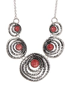 Look at this Silvertone & Pink Open-Circle Bib Necklace on #zulily today!