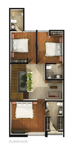 Small but intelligent house in a growth area in the city of Puebla, México. Modern Small House Design, Duplex House Design, Simple House Design, Minimalist House Design, Home Room Design, Home Design Plans, 3d House Plans, Simple House Plans, Model House Plan