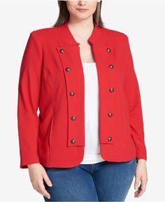 Tommy Hilfiger Plus Size Knit Jacket, Created For Macy's In Scarlet Knit Jacket, Sweater Jacket, Blazer Jacket, Tommy Hilfiger Jackets, Plus Size Outfits, Knitting, Blazers, Coat, Sweaters