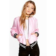 Boohoo Sarah Premium Satin Bomber Jacket ($60) ❤ liked on Polyvore featuring outerwear, jackets, pink, puffy jacket, pink bomber jacket, bomber jacket, bomber puffer jacket and pink jacket